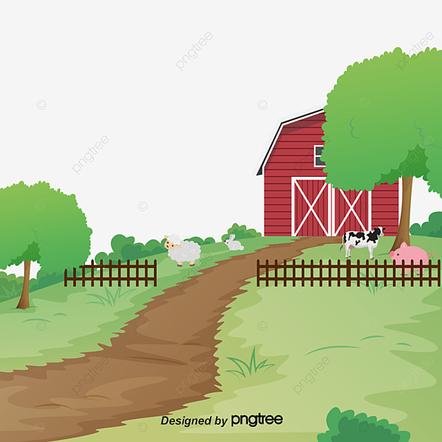 Cartoon Sheep Farm Group Vector Material Downloaded