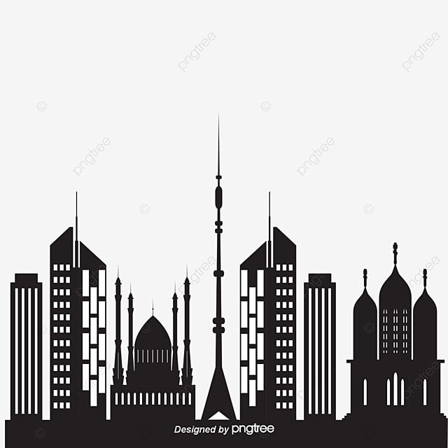 Architecture Banner Buildings City Silhouette Black Hand Painted City Building Png And Vector