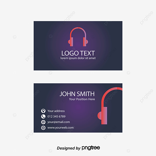Business Card Template, Business Card, Headset PNG and Vector for ...