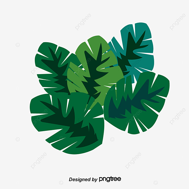 Green Decorative Elements Greenery Hand Painted Plants Banana Tree PNG And Vector