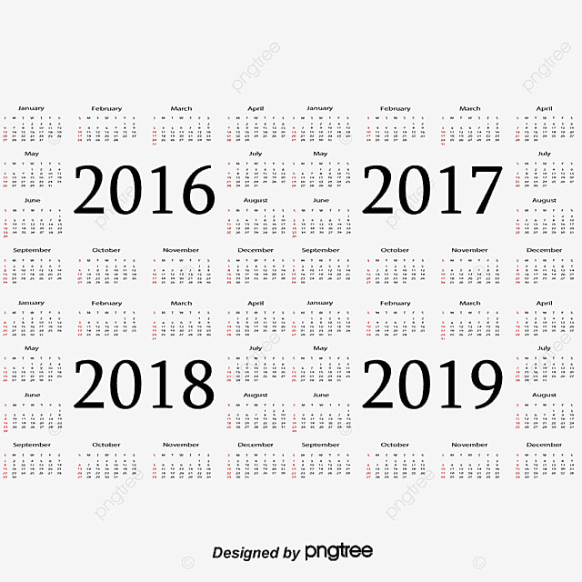 calendar 2017 2018 2019 png and vector for free download