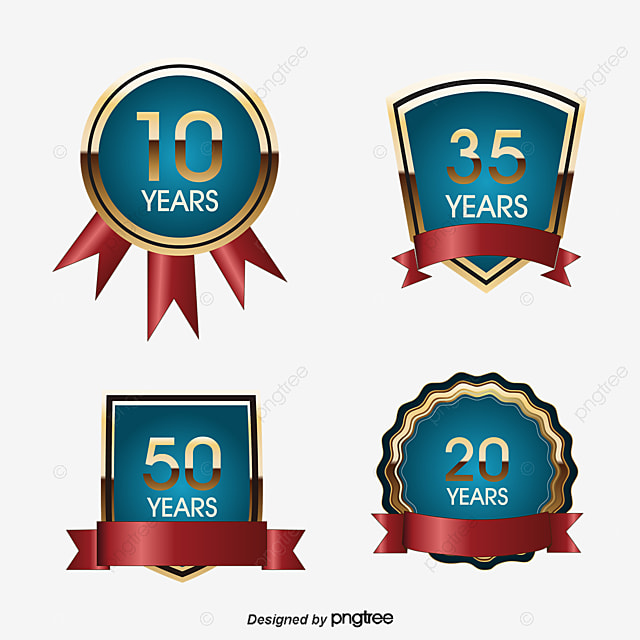 Anniversary label material, Gold Label Badge, Gold Medal, Shield PNG and Vector
