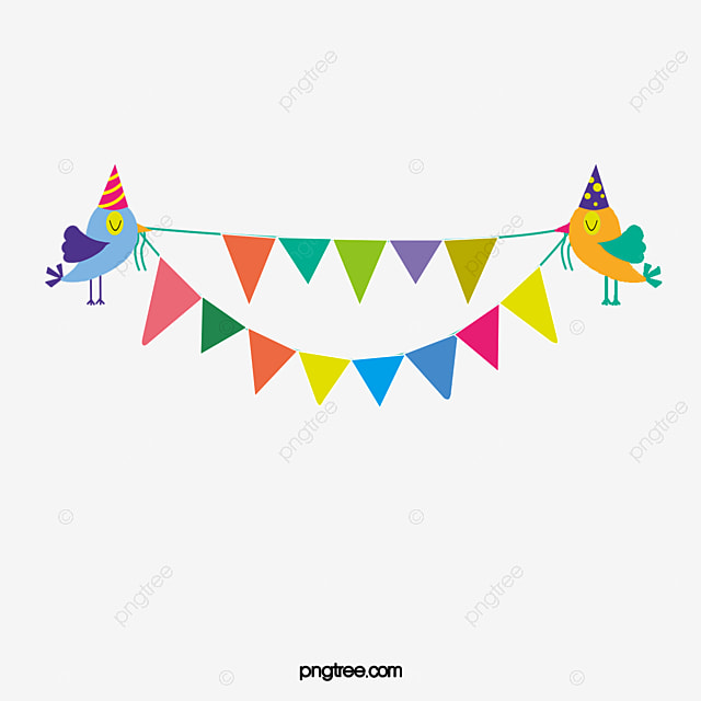 Happy Birthday, Bunting, Birds PNG Transparent Image And