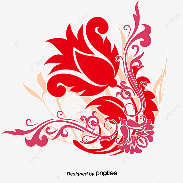 Swirl Floral Design Vector Art Pattern Red Posters Element PNG And