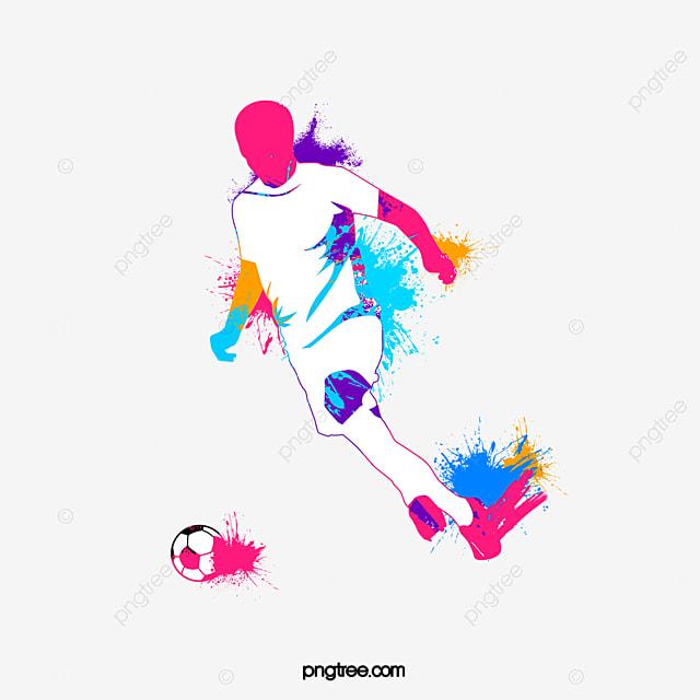 footballeur par jet d encre aquarelle de silhouette le