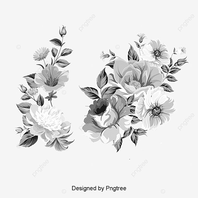 Vintage Floral Design Retro Flower Pattern Black And White PNG PSD