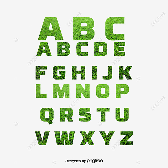 Grass green leaves alphabet, Letter, WordArt, Arabic Numbers PNG and Vector