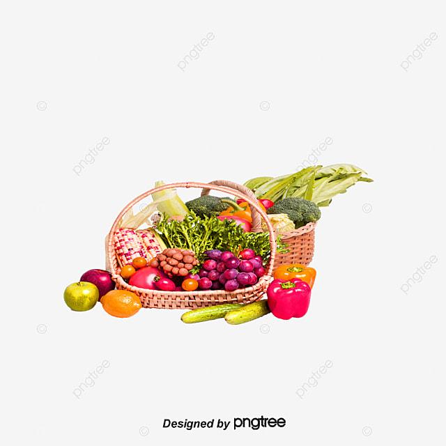 Fruit, Vegetables, Basket PNG And PSD