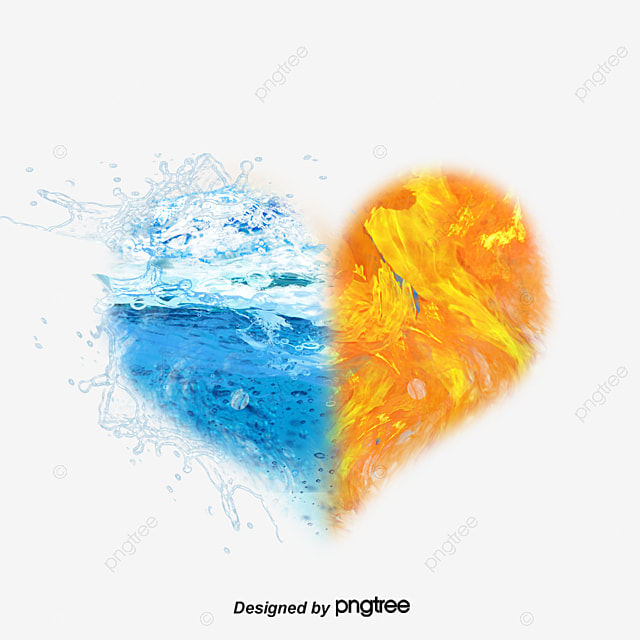 Water and Fire, Heart Shape, Water, Fire PNG and PSD