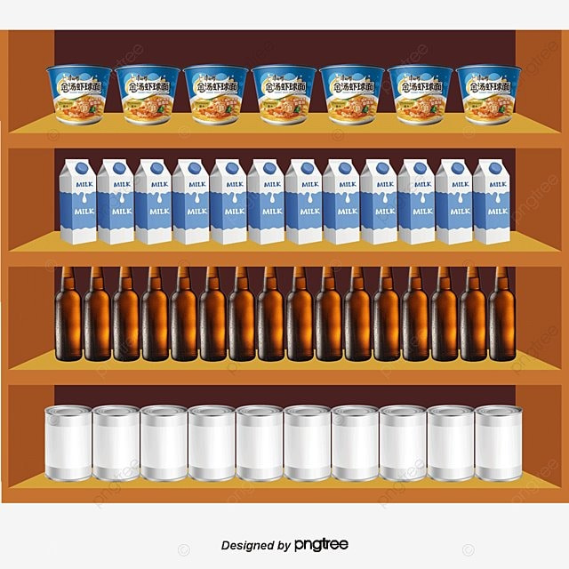 Supermarket Shelves Vector Supermarket Shopping Shelf