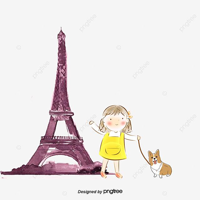 Gambar Gadis Kartun Bermain Menara Eiffel Kartun Gadis Bermain Png Dan Psd Untuk Muat Turun Percuma