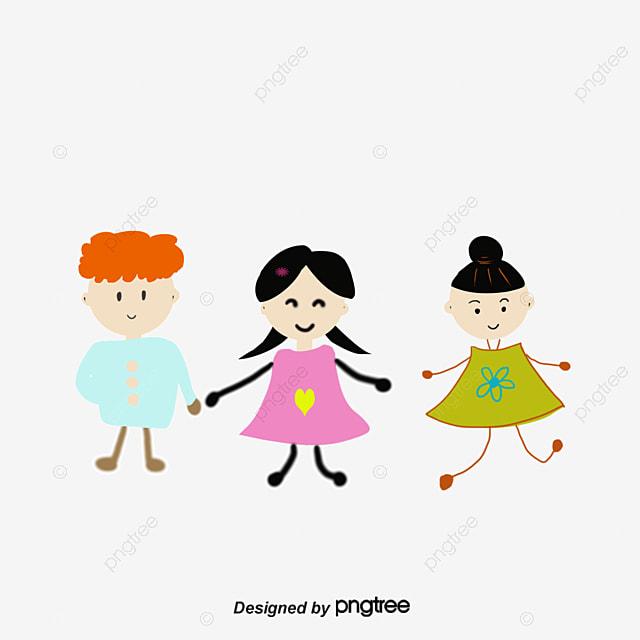 Pintado A Mano De Los Niños De Dibujos Animados Grupo De Niños