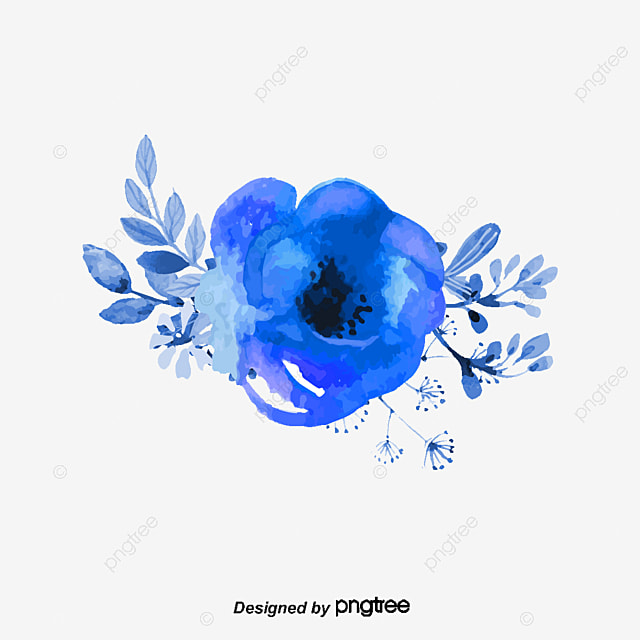 Vector Dark Blue Floral Decorations, Vector, Navy Blue, Flowers PNG ...