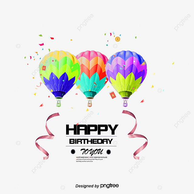 Birthday Elements Colored Balloons Helium Balloon PNG And PSD
