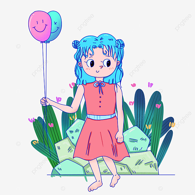 Balloon Girl Balloon Clipart Cartoon Little Girl Cartoon Girl PNG
