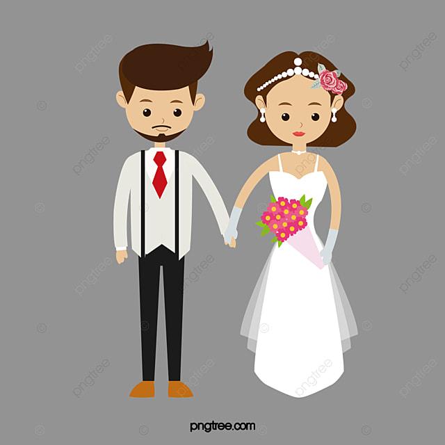 Bride And Groom Western Style Wedding Dress Short Hair Girl PNG Image