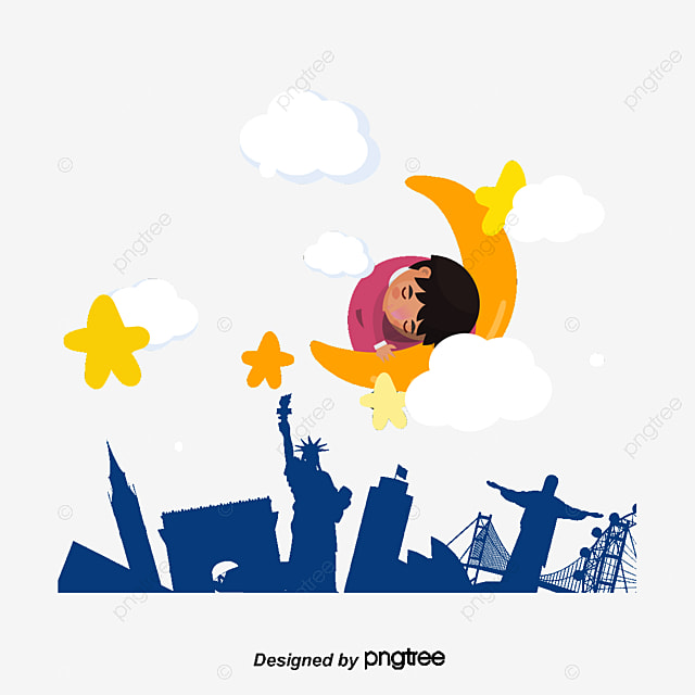 sleeping on the moon a little girl cartoon contexte ville creative png et vecteur pour