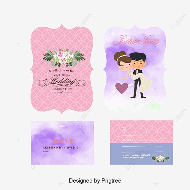 Cartoon wedding invitation design, Wedding Invitations, Wedding Invitations, New Personality PNG and Vector