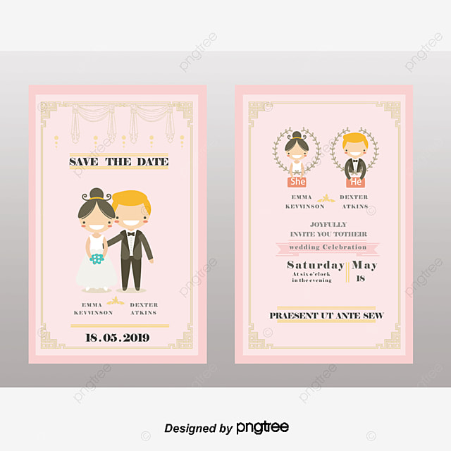 cartoon wedding invitation design, Wedding Invitations, New Personality, Bride And Groom PNG and Vector