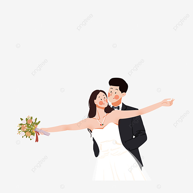 Beberapa Gambar Kartun Perkahwinan Romantis Pengantin Imej Png Dan