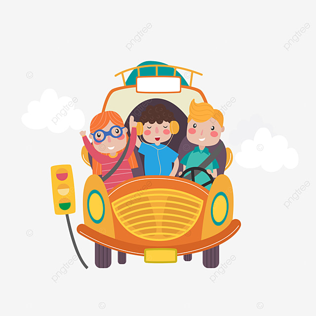 Family Travel Vector A Four Cartoon Characters PNG And