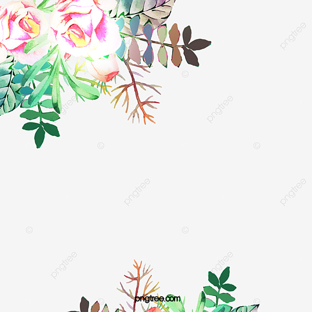 Hand Painted Flower Border Flowers Decoration Lace PNG Image