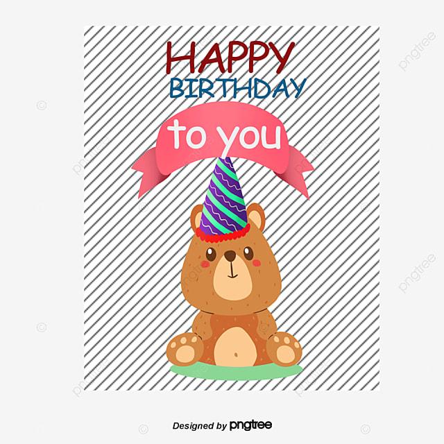 Bear Flat Birthday Card Birthday Clipart Birthday Cards Bear Png