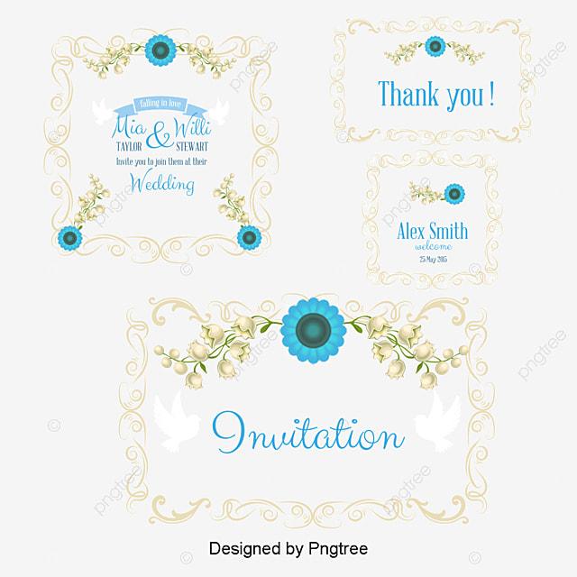 5 Blue Floral Wedding Invitation Card Vector Material