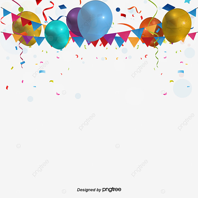 Celebration Background Colored Ribbon Balloon Fireworks