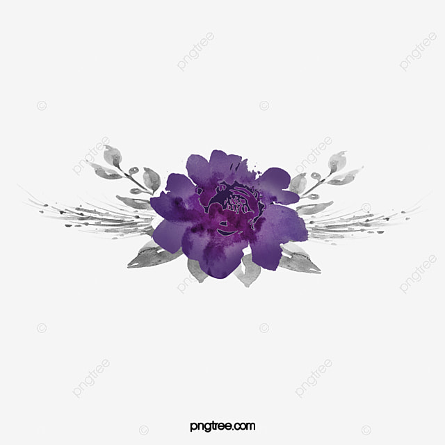 Watercolor Purple Flowers PNG Image And Clipart