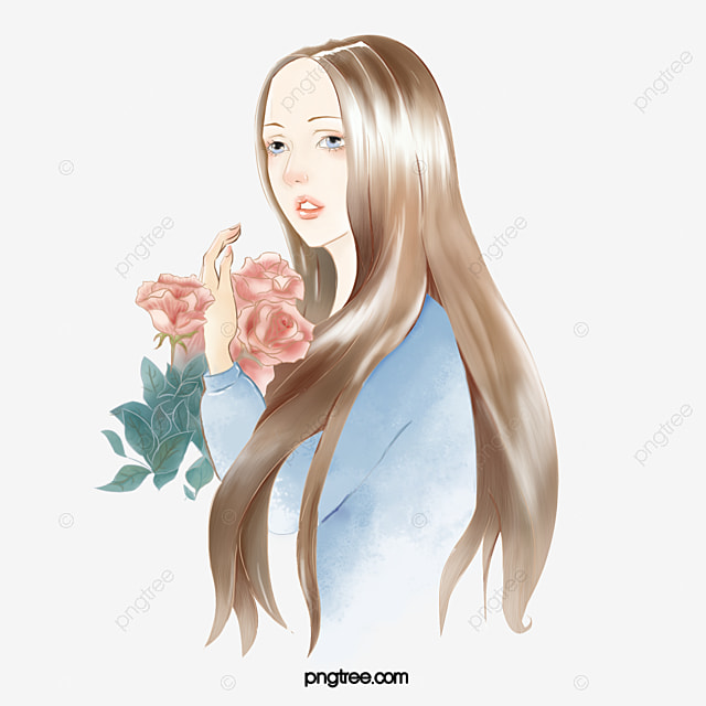 Holding A Flower Girl Flowers Beauty Cartoon Png Image