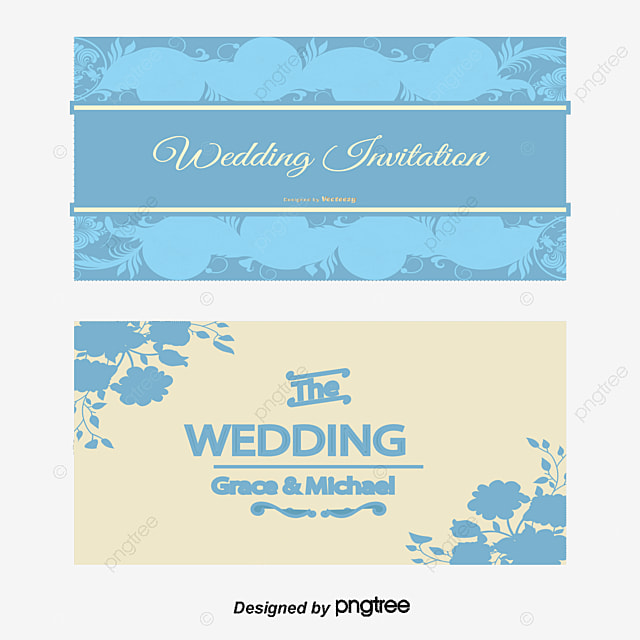 Wedding Invitation Card Vector, Blue Pattern, Wedding Invitation Card,  Vector PNG And Vector