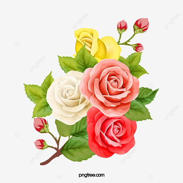 Vintage Rose Bouquet, Rose Clipart, Retro, Hand Painted ...