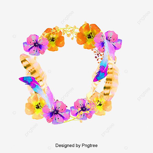Vector Floral Watercolor Plumas Acuarela Vector Flores