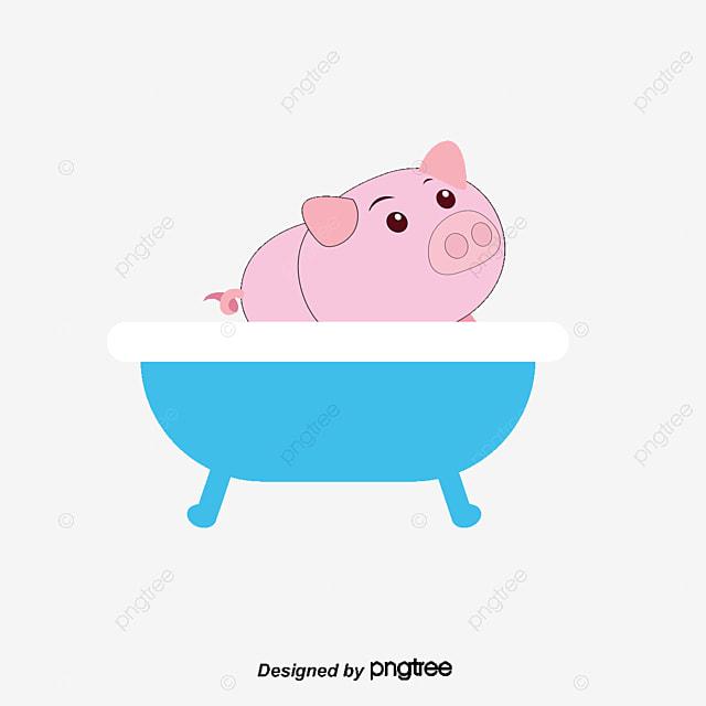 bathe pig, Cartoon Comics, Animal Illustration, Land Animals PNG and Vector