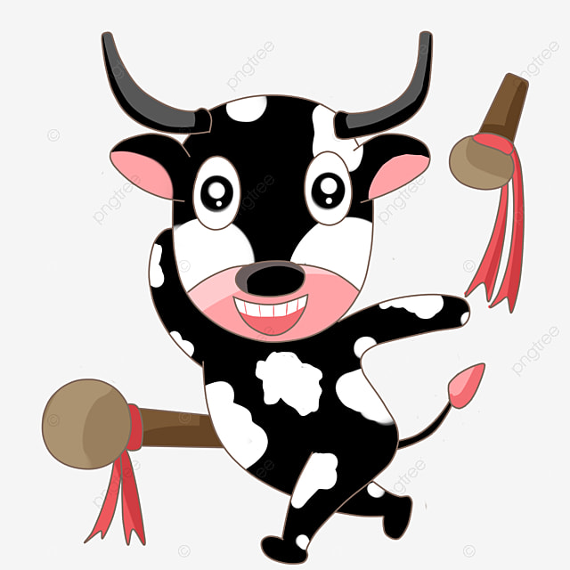 Cartoon Cow Clipart Black And White PNG Image