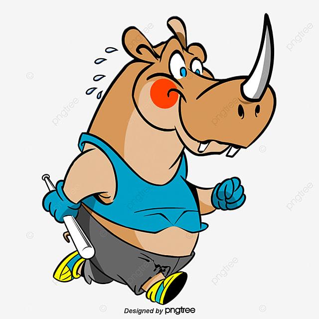 Running cartoon hippo, Cartoon Comics, Animal Illustration, Land Animals PNG and Vector