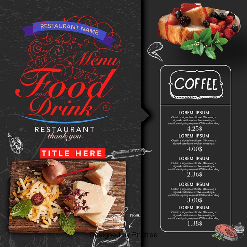 Creative menu design hotel recipes hotels png