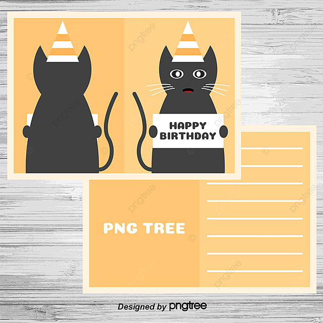 Cute Cat Birthday Card Vector Clipart Kitten PNG And