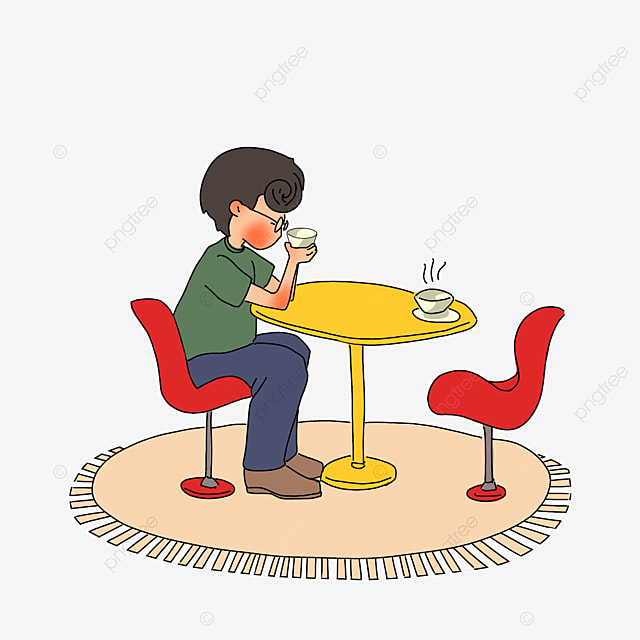 Cafe Dinette Hand Drawing Cafe Clipart Chair Stool Image And