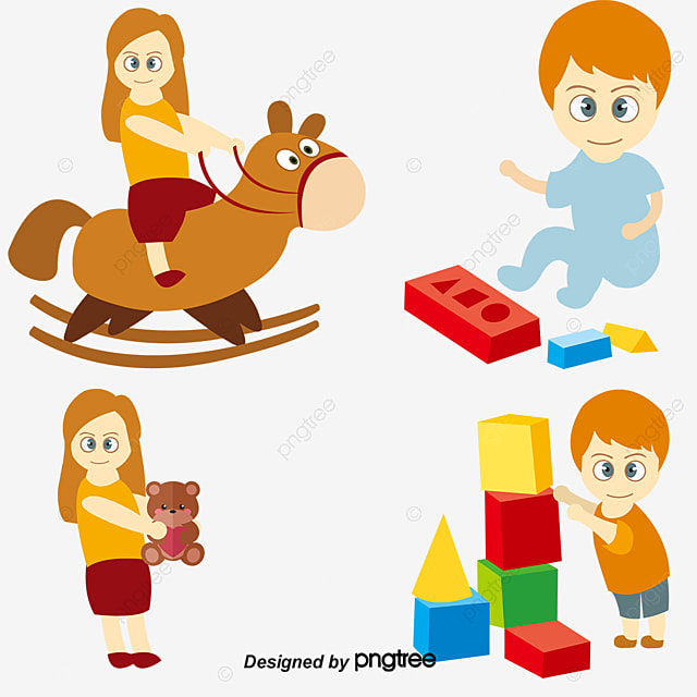 Vector Child Playing With Toys People Illustration Cartoon