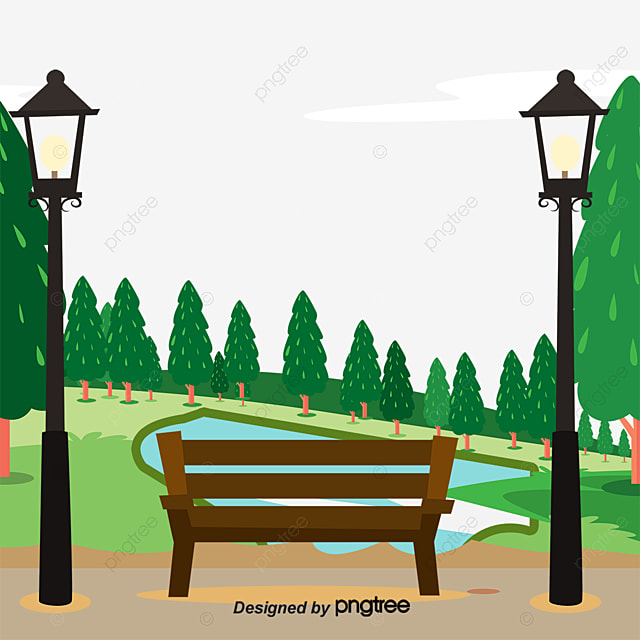 city park benches and scenery vector material, city, park, bench png