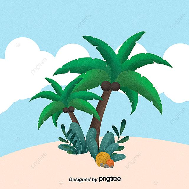 Kartun Pohon Kelapa Pantai Ilustrasi Kartun Pemandangan Pantai