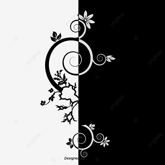 Beautifully Decorated In Black And White Flowers Vector Material