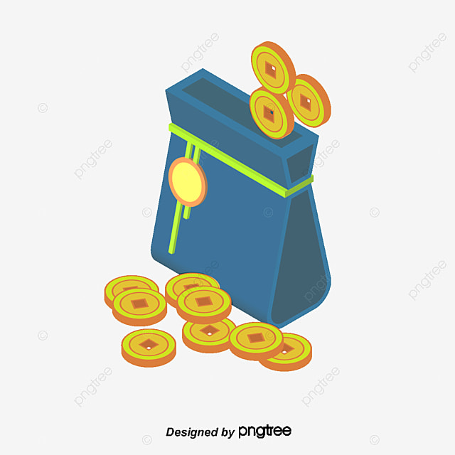 Vector cartoon bag of gold coins, Gold, Wallet, Bag Of ...
