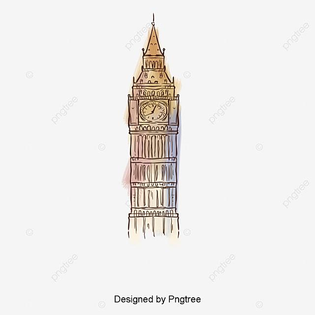 Big Ben Acuarela Ilustración Pintado A Mano De La Construcción De La ...