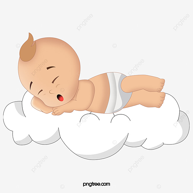baby sleeping on the clouds, baby, cartoon, hand painted png image