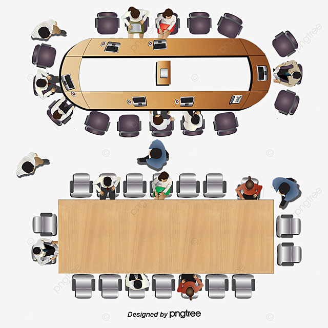 Vector Aerial Conference Table Top View Plan View Top