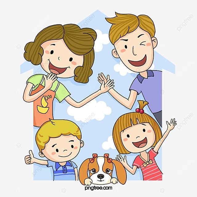 A Família Dos Desenhos Animados, Feliz, Cartoon, Uma