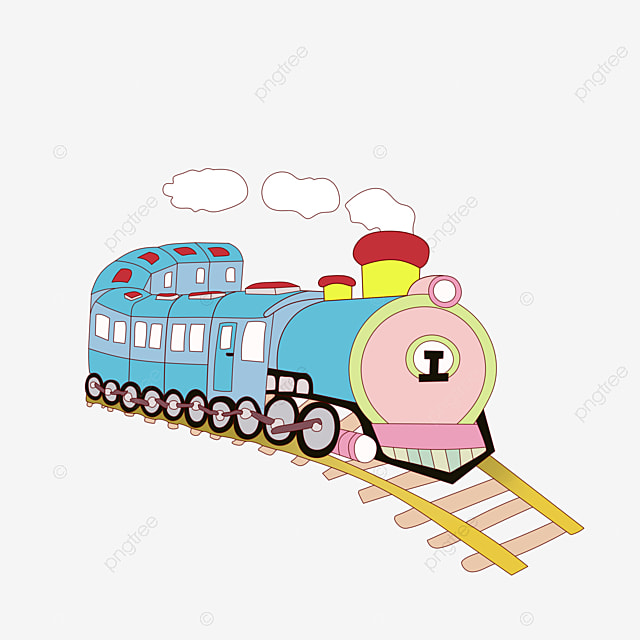 Cartoon Painted Vintage Train Front Hand Transportation PNG